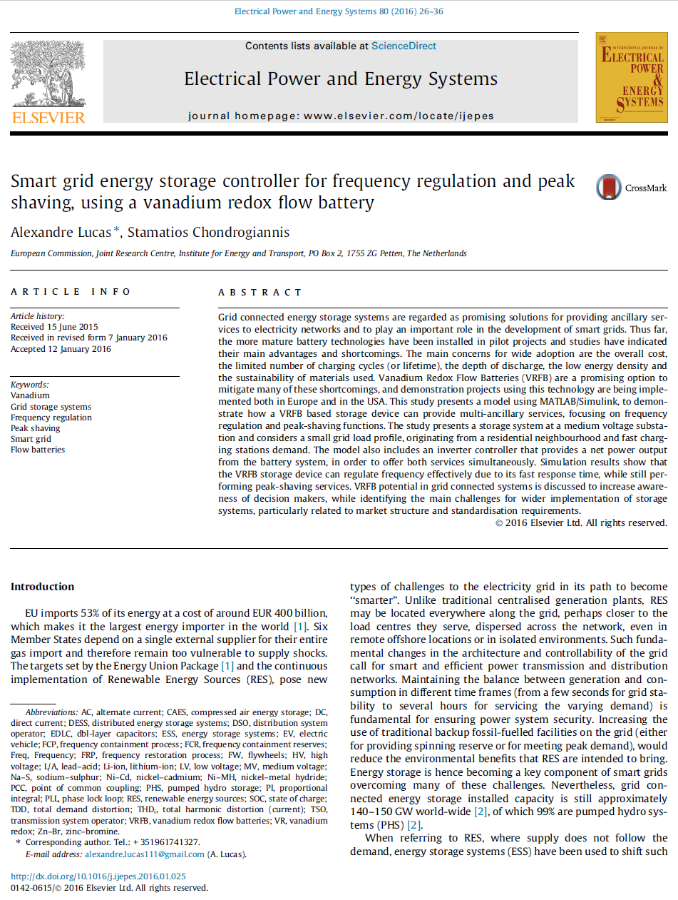 Smart grid energy storage controller for frequency regulation and